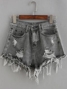 $8.80 Bolsillos cintura baja acanalado apenado de lavado de mezclilla Pantalones…