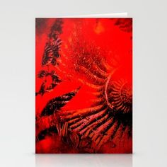Ammonite Red & Buddleia Red Stationery Cards