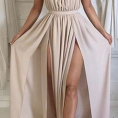 Nude Halter Chiffon Prom Dress Backless Party Dresses For Women  on Luulla