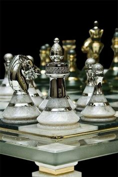 Silver and granite chess pieces Chess Set Unique, Raindrops And Roses, Kings Game, Chess Pieces, Board Games, Geek Stuff, Fancy, Beautiful, Antiques
