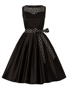 c782daa817c8 Blooming Jelly Women Dress 50s Vintage Polka Dot Mesh Bowknot Cocktail  Swing Dress  Amazon.co.uk  Clothing