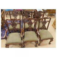 Set of antique chippendale dining chairs, two carvers and four chairs. Chippendale Chairs, Armchair, Dining Chairs, Antiques, Awesome, Nature, House, Furniture, Ideas