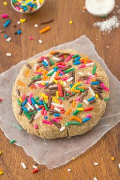 Soft, chewy and delicious protein packed cookies with a short ingredient list and having all the flavor of birthday cake! Paleo, vegan, gluten free recipe!