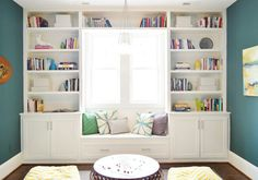 from Young House Love - floor to ceiling bookshelves and window seat. Furniture, Room, Interior, Family Room, Home, Bookshelves Built In, Room Decor, Window Seat, Home Library