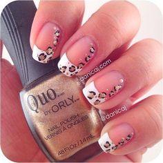 leopard nails this is really cute Marilyn J Nails, Cheetah Nails, Love Nails, How To Do Nails, Pretty Nails, Hair And Nails, Lipgloss, French Tip Nails, Elegant Nails