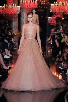 Elie Saab | Fall 2014 Couture | 30 Orange belted embellished sleeveless maxi dress with deep V-neck