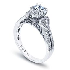 """Kirk Kara handcrafted engagement ring with filigree accents from the Kirk Kara """"XO"""" collection crafted with 0.19 carats of diamonds. $2630"""