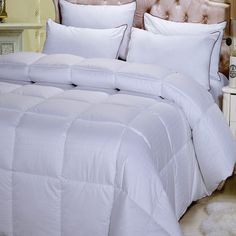 Down Comforter Alternative Duvet Insert Cotton Ultra Plush Baffle Box No Feathers Hypoallergenic Medium Weight All Season Year Round Reversible Washable King/Cal King Size Oversized Down Comforter, Queen Comforter Sets, Luxury Bedding Collections, Luxury Bedding Sets, Modern Bedding, Pottery Barn, Down Blanket, Ikea, Shabby