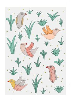 Birds - Print by Depeapa. $27.00, via Etsy.