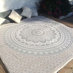 Rectangle Yoga Bohemian Colorful Mandala Tapestry Beach Blanket