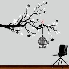 black and white tree branch decal with birds by ModernWallDecal Simple Wall Paintings, Creative Wall Painting, Wall Painting Decor, Fabric Painting, Black And White Tree, Wall Murals, Wall Art, Wall Drawing, Paint Designs