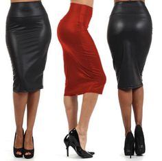 Misscat Women Leather Stretch High Waist Pencil Midi Skirt Bodycon Short Dress >>> You can get additional details at the image link. Bodycon Midi Skirt, Black Midi Skirt, High Waisted Pencil Skirt, Pencil Skirts, Bodycon Style, Womens Leather Skirt, Leather Skirts, Faux Leather Pencil Skirt, Pu Leather