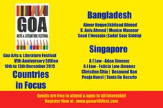 GOA ARTS & LITERATURE FESTIVAL 2015 VI TH EDITION 10TH - 13TH DECEMBER AT THE INTERNATIONAL CENTRE GOA  REGISTER NOW AT : www.goaartlitfest.com