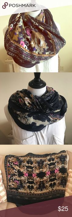 Pretty Floral Infinity Scarf! ❤️ Pretty infinity scarf. Floral in middle and a sort of tribal print towards edge. The combination of colors and print (along with material) are exquisite in person! Only worn a few times, so like new! Accessories Scarves & Wraps