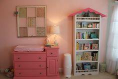 Shabby Chic Baby Girl Nursery Birdhouse Bookshelf  Window Pane Painted Furniture