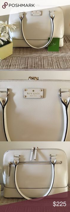 Kate Spade Wellesley Large Rachelle Satchel Purse Kate Spade New York Wellesley Rachelle large bag. New without tags. Some minor scratches to the hardware on the very bottom of the bag just from storing it.   The exterior leather color is a light cream or off white color. The inside lining is a gorgeous bright color pink.  Measures: 10.5 Tall x 5.1W x 14 1/2 L  Leather handle drop 9 inches  Gold bottom protectors  Rolled leather  One large back zipper pocket, one interior zipper pocket and…