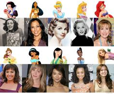 Disney Princesses and their voice actors.