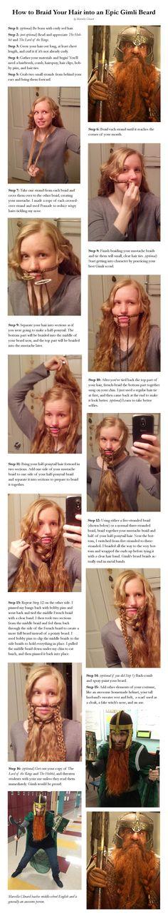Braid long hair into an epic LOTR Gimli the Dwarf beard!