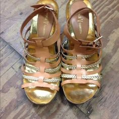 """Vince Camuto VC-Blaze Sandal wedges Vince Camuto Womens Sandals Wedge High. Vince Camuto Gladiator Sandals Braided Metallic Leather Detail Cork Midsole 5"""""""" Stacked Wedge Heel, 1"""""""" Platform Synthetic Lining Textured Rubber Outsole Adjustable Buckle Closure Upper, 100% Leather."""" Vince Camuto Shoes Wedges"""