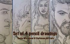 Portrait Custom Set of 4  Illustrated Pencil by ParkinsonPortraits