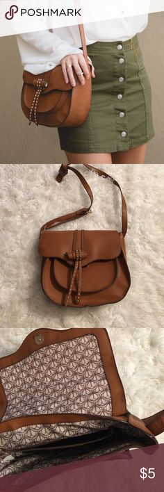 Brown cross body bag with gold studs Brown cross body bag with gold studs with 4 pockets Bags Crossbody Bags