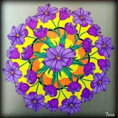 Mandala, fleur, coloring, coloriage