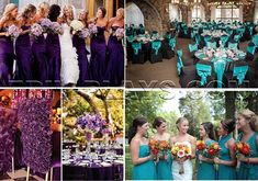purple wedding and teal wedding Fall Wedding Flowers, Fall Wedding Colors, Fall Wedding Dresses, Purple Wedding, Bridesmaid Dresses, Summer Wedding, Wedding Aisle Decorations, Wedding Themes, Wedding Ideas