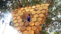 budi pradono architects weaves treehouse with bamboo modules - designboom | architecture