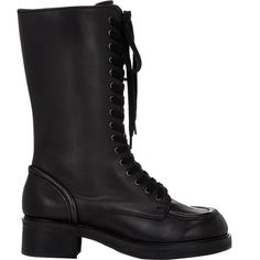 Jil Sander Leather Combat Boots ($279) ❤ liked on Polyvore featuring shoes, boots, black, mid-calf boots, fur lined boots, combat booties, black leather boots and mid calf leather boots