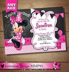 HUGE SELECTION Minnie Mouse Invitation by ThePrintableOccasion, $15.00