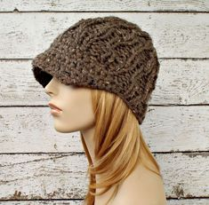 Brown Womens Hat Brown Newsboy Hat - Amsterdam Beanie with Visor Barley Brown Knit Hat - Womens Accessories Winter Hat - Ready To Ship by pixiebell on Etsy