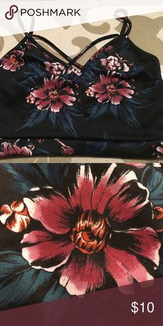 NWT  floral crop top Black floral crop top from the Night collection. It's 95% polyester, 5% spandex. NWT Tops Crop Tops