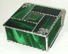 Green Stained Glass Jewel Box  Center Bevel by StainedGlassDelight, $29.95