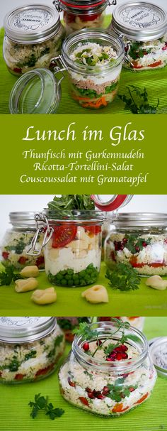 Lunch in the glass – 3 healthy alternatives to the canteen! – – Mittagessen im Glas – 3 gesunde Alternativen zur Kantine! Lunch To Go, Lunch Meal Prep, Healthy Recepies, Healthy Snacks, Lunch Snacks, Lunch Recipes, Food To Go, Food And Drink, Vegan Coleslaw