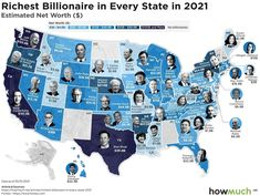 The Wealthiest Billionaire in Each U.S. State in 2021 U.s. States, United States, Income Support, Arms Race, World Government, Weapon Of Mass Destruction, World Economic Forum, North Dakota, Natural Disasters