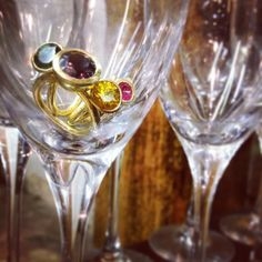 Cocktails rings by Rachel Jeffrey. Gold, tourmaline, ruby, spinel.