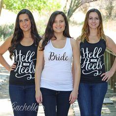 Super cute Hell On Heels bachelorette party tank tops for the bride, maid of honor, and bridesmaids by Bachette!