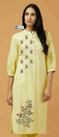 Embroidery Suits Punjabi, Embroidery On Kurtis, Kurti Embroidery Design, Flower Embroidery Designs, Flower Patterns, Plain Kurti Designs, Salwar Neck Designs, Kurta Designs, Pink Kurti