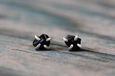 Tiny Apache Tears Obsidian Sterling Silver Post by GATHERJEWELRY, $68.00