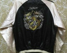 Vintage 80s Japan Sukajan yokosuka embroidery Japanese souvenir jacket L size black colour