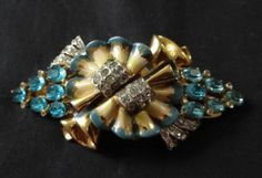 Vintage Signed Coro Craft Sterling Duette Pin Blue Yellow Flower Gold Wash | eBay