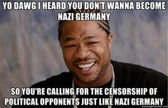 YO DAWG I heard you don't wanna become Nazi Germany So you're calling for the censorship of political opponents just like Nazi Germany - Yo Dawg | Meme Generator