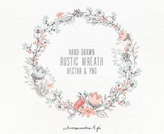 This rustic floral wreath is hand drawn with love. It looks lovely on wedding stationery, but of course is not limited to that. Youll receive