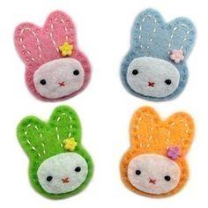 siri bunny felt hair clip  I think I may make sme these hair clips