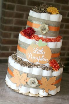 3 Tier Little Pumpkin Diaper Cake Fall Baby by BabeeCakesBoutique