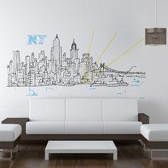 Chispum wall sticker Skyline New York by Javier Mariscal