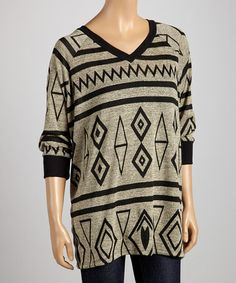 This Gray & Black Geometric V-Neck Tunic is perfect! #zulilyfinds