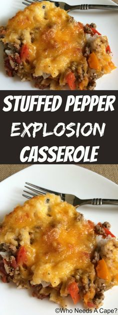 Stuffed Pepper Explosion Casserole (with ground turkey, rice, and bell peppers! Stuffed Pepper Explosion Casserole (with ground turkey, rice, and bell peppers! New Recipes, Dinner Recipes, Cooking Recipes, Favorite Recipes, Healthy Recipes, Recipies, Healthy Hamburger Recipes, Water Recipes, Sausage Recipes