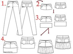 how to convert pants to a skirt (this page also has instructions on how to make a kaftan dress from a long sheet of fabric)