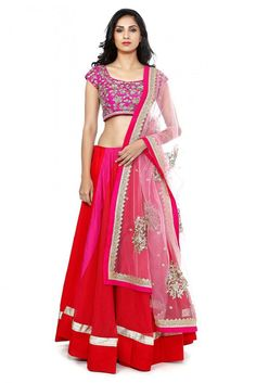 Bhagalpuri and Net Party Wear Lehenga Choli in Pink and Red Colour.It comes with matching blouse and Dupatta.it is crafted with Embroidery,Lace Work It can be Stitched upto 42 inches...